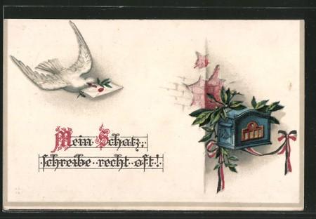 AK-Brieftaube-mit-Brief-im-Schnabel-beim-Anflug-auf-einen-Briefkasten