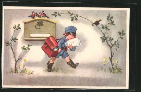 AK-Postbote-holt-Briefe-aus-dem-Postkasten