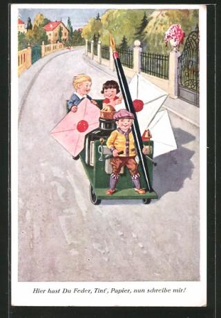 AK-Schreibfaul-Kinder-transportieren-mit-einem-Wagen-den-Federhalter-Tintenfass-u-Briefe